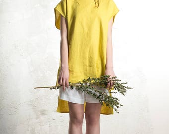 Linen tank top, Mustard tank for women and for men, Linen clothes by LHI