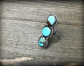 Number 8 Mine Turquoise Multi Stone Sterling Silver Ring - Sz. 8.5