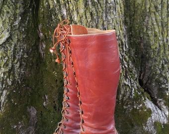 RARE 1970s ZODIAC Leather Lace Up Boots / Tall / Lug Soles / Hippie Boho Festival / Women's 7
