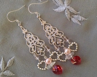 Silver chandelier earrings with crystal pink hearts and silver hearts