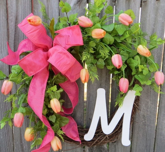 Spring Wreath - Spring Tulip Wreath,  Front Door Wreath Decor, Monogram Springtime Wreath, Pink Peach and Coral Summer Wreath, Etsy