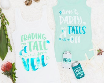 Mermaid Bachelorette Party shirts   Trading My Tail for a Veil & Time to Party Our Tails Off   Teal Mint Green and White   Fitted OR Flowy!