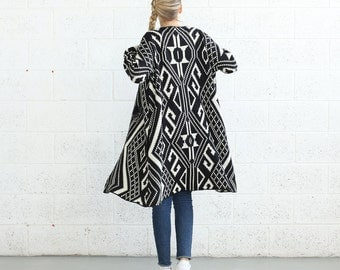 Winter Final Sale SALE!Knit Tribal Print Poncho,Black/Ivory .