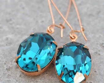 Teal Blue Rose Gold Earrings Swarovski Crystal Peacock Blue Rhinestone Bridesmaid Earrings Indicolite Dark Teal Bridesmaids Earrings Oval
