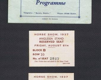 Antique Vintage Dublin Horse Show 1937 Historical Racing Sports Paper Ephemera Ireland Thirties Program Tickets Map