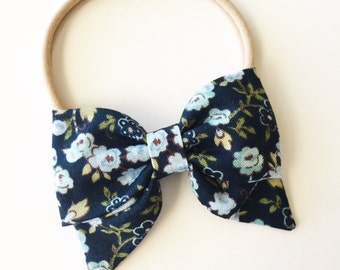 Navy Baby Bow - Navy Floral Sailor Bow - Baby Sailor Bow Headband or Clip - Navy Fabric Bow Sailor Clip - Navy Floral Baby Headband Nylon