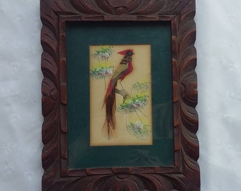 Vintage Wood Framed Feather Bird Wall Hanging