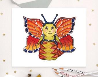 Practicing CATERPILLAR - ART PRINT - butterfly, illustration, nursery, children's art, home decor