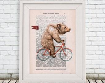 Bear Print, Bear on bicycle, valentine's, love print, wedding print, Cute Birthday Idea, Woodlands Decor,bicycle print