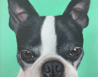 Boston terrier gift custom dog portrait painting on canvas 11x14 wall art