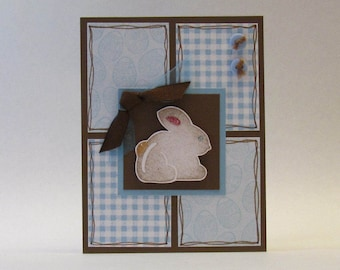 Easter Card - Sky Blue with Chocolate Bunny - Hand Stamped
