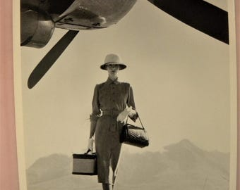The Art of Travel via Airplane Featuring a Professional Woman Black and White Photo Postcard