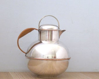 Vintage Tea Pot Nickel Silver by Apollo Sheffield and Bernard Rice and Sons Art Deco 1920's Rattan Handle