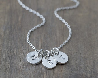 Silver Monogram Necklace / Custom Hand Stamped Jewelry Gift for Mom / Personalized Gift for Women / Personalized Womens