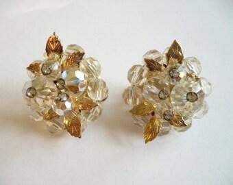 Vintage Vendome Earrings Clip On Cluster AB Crystal Beads Rhinestone Gold Leaf