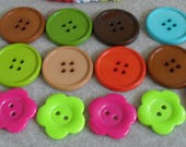 Assorted Big Buttons, brown, blue , green, orange, pink, lime flower shaped buttons