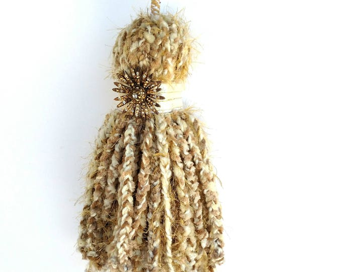 Giant Over Sized Braided Chenille Yarn Tassel in White and Gold