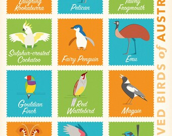 Beloved Birds of Australia retro illustrated print