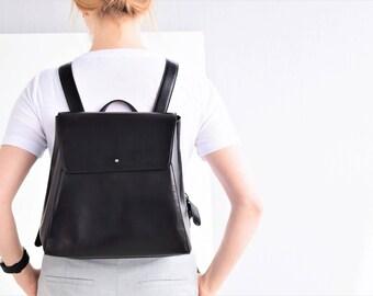 Mini backpack women - Black leather backpack - Black backpack women - Women backpack - Black mini backpack - Women leather bag - Backpack