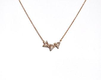 18k Baguette Diamond Trinity Necklace