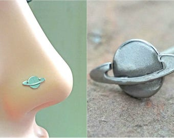 Silver Saturn Planet Nose Stud Nose Ring