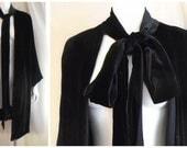 Vintage 1930's Silk Velvet Coat Black Evening Coat Large Size Attached Scarf