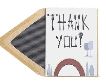 Thank You For Dinner Card - Thank You, Thinking of You, Place Settting, Dishes