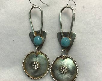 Handcrafted Sterling Silver Earrings with Natural Larimar Cabochons