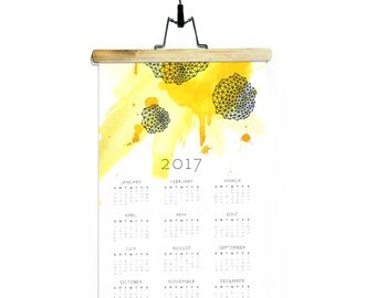 Desk Calendar 2017 / Geometric Watercolor Electric Yellow Art Calendar / Modern Wall Calendar
