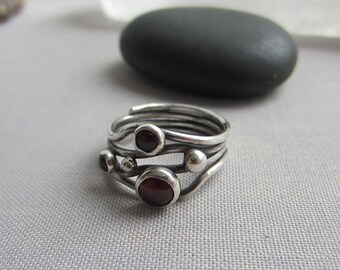 SALE 20% OFF/ Garnet Ring/ Silver Ring with Garnet/ Oxidized Silver ring/ Garnet statement ring/ Garnet bezel ring/ January birthstone