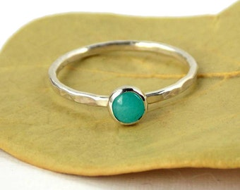 Amazonite Hammered Band Ring: stackable birthstone ring, sterling silver ring, birthstone ring, simple ring, blue green ring