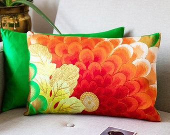 "Floral Embroidery Pillow in Red, Gold, Green Silk, Vibrant Accent Cushion, Upcycled Japanese Kimono, 12""x18"" Rectangular Ltd Ed ECO Upcycled"
