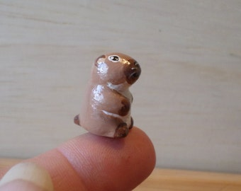 Miniature groundhog figurine, groundhog totem, animal figurine, sculpture # 109