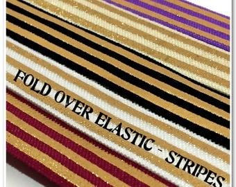 2 Metres of Fold Over Elastic - Stripes