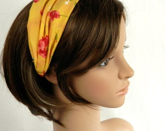 Yellow Cotton Headband With Painted Look Red Flowers, Blue Flowers and White Daisies Summer Hair Fashion Handmade by Thimbledoodle