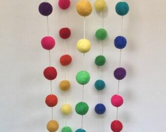 Rainbow Felt Ball Nursery Mobile - Playroom PomPom Nursery Pride Decor