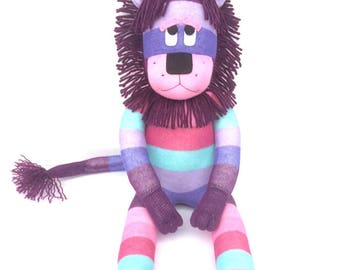 Lottie the Sock Lion - purples, pinks and mint - READY TO SHIP