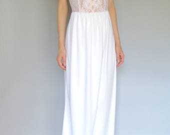 SPRING SALE! english garden - organic cotton bamboo paired with white vintage 1960's floral lace bohemian chic hippie wedding maxi dress xs