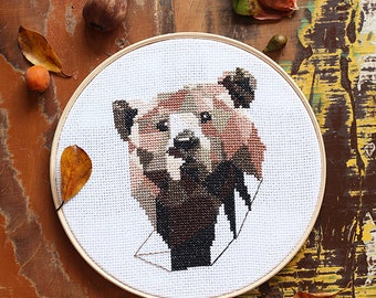 "Original art Geometric bear Hand embroidery Modern wall decor 9"" Wall hanging"