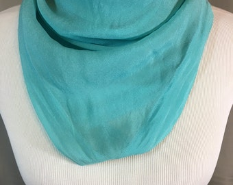 Turquoise Silk Scarf Handmade One of a Kind 28 Inches Wide 28.25 Inches Long