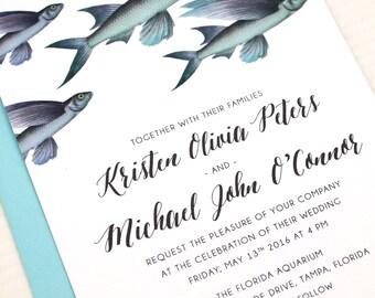 Beach Wedding Invitations, Boho Beach Wedding Invitation, Flying Fish Wedding Invitations, Fish Wedding Invitation Set, Flying Fish Invites