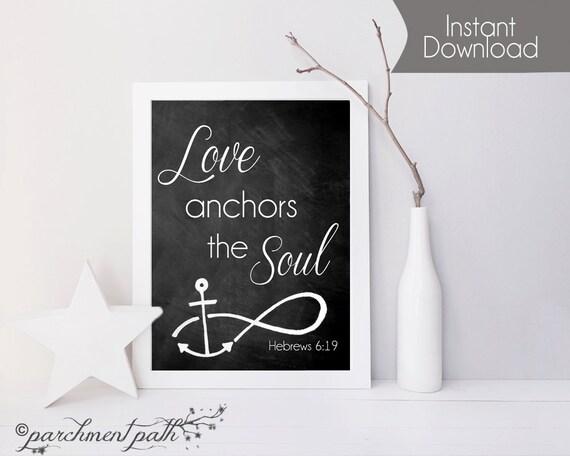 Love Anchors the Soul Wall Art - Hebrews 6:19 - Bible Verse Art ...