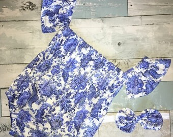 Off The Shoulder Baby Romper, Baby Girl Sunsuit, Boho Romper, Floral Playsuit, Complete Baby /Toddler Set, Knot Bow Headband,Summer Playsuit