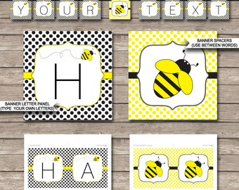 Bee Party Banner - Happy Birthday Banner - Custom Banner - Bee Party Decorations - Bunting - INSTANT DOWNLOAD with EDITABLE text