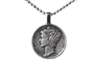 Mercury Dime Pendant with Adjustable Chain - Necklaces - Women's Jewelry - Handmade - Gift Box Included