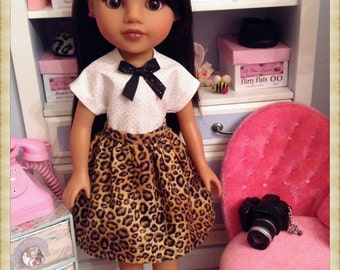 Leopard print three piece outfit skirt top and shoes for 14 inch dolls like Hearts for Hearts