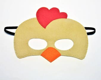 Rooster brown felt mask farm animal chicken hen bird costume for kids adults boy girl handmade Dress up play accessory Theatre roleplay