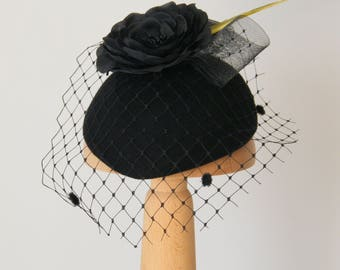 black cocktail hat with veil / winter occasion hat / statement hat / black fascinator funeral hat UK