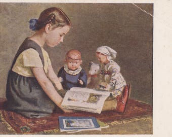 "Written on (!) I. Yershov ""Reading"" Postcard -- 1952. Condition 7/10"