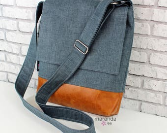 Nori Medium Flap Messenger Slouch Bag with Adjustable Cross Body Bag - Blue Denim - iPad Bag  READY to SHIP